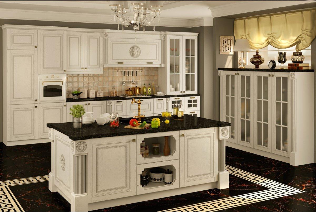Деревянная кухонная мебель с островом